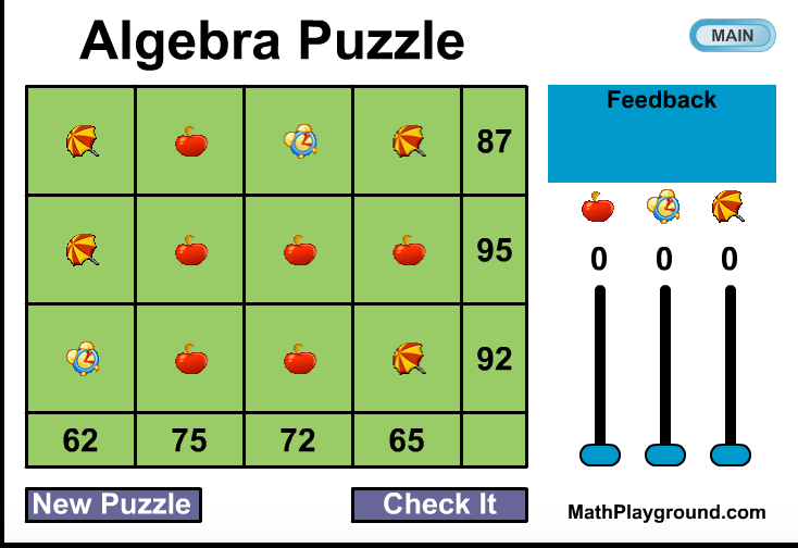 math worksheet : chedoke grade 8 home  math  science blog : Algebra Puzzles